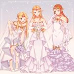 3girls :d ;d bangs bare_legs bare_shoulders bitikara blonde_hair blue_eyes bouquet breasts bridal_gauntlets brown_hair circlet collarbone commentary dress english_commentary english_text flower frilled_dress frills full_body gloves grey_background hand_on_hip holding holding_bouquet leaning_forward long_hair looking_at_viewer medium_breasts multiple_girls multiple_persona off-shoulder_dress off_shoulder one_eye_closed open_mouth parted_bangs pointy_ears princess_zelda see-through shawl sidelocks simple_background small_breasts smile standing straight_hair super_smash_bros. the_legend_of_zelda the_legend_of_zelda:_twilight_princess thighs wavy_hair wedding_dress white_dress white_gloves