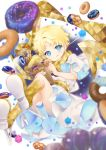 1boy :q bag blonde_hair blue_eyes blurry candy depth_of_field doughnut fate/grand_order fate/requiem fate_(series) food food_on_face highres konpeitou male_focus nigo paper_bag robe scarf smile tongue tongue_out voyager_(fate/requiem) yellow_scarf