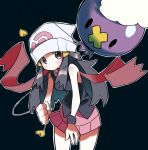 :| arm_grab beanie black_shirt black_wristband blue_background blush breasts closed_mouth drifloon gen_4_pokemon hair_ornament hat highres hikari_(pokemon) hyou_(hyouga617) layered_clothing long_hair looking_at_another pink_skirt pokemon purple_skin red_scarf scarf shirt simple_background skirt sleeveless sleeveless_shirt solid_oval_eyes white_headwear wristband