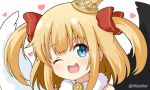 1girl ;d bare_shoulders black_wings blonde_hair blue_eyes bow commentary_request crown feathered_wings fur_collar hair_bow heart maaru_(shironeko_project) miicha mini_crown mismatched_wings one_eye_closed open_mouth portrait red_bow shironeko_project simple_background smile solo tilted_headwear twitter_username two_side_up upper_body upper_teeth white_background white_wings wings