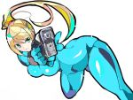 1girl aqua_eyes blonde_hair blue_bodysuit bodysuit breasts enpe eyebrows_visible_through_hair gun holding holding_gun holding_weapon large_breasts long_hair metroid mole mole_under_mouth ponytail samus_aran simple_background solo v-shaped_eyebrows weapon white_background zero_suit