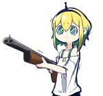 1girl aimusu amano_pikamee bare_shoulders black_hairband blonde_hair closed_mouth commentary_request green_eyes green_hair gun hairband holding holding_gun holding_weapon lowres multicolored_hair off-shoulder_shirt off_shoulder shirt short_sleeves shotgun simple_background solo standing tears trembling two-tone_hair upper_body virtual_youtuber voms weapon white_background white_shirt wide_sleeves