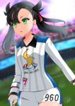 1girl absurdres arena asymmetrical_bangs bangs black_hair blurry collarbone commentary depth_of_field earrings green_eyes gym_challenge_uniform hair_ribbon highres jewelry long_hair mary_(pokemon) open_mouth pokemon pokemon_(game) pokemon_swsh ribbon short_shorts shorts signature sportswear stud_earrings twintails twitter_username walking yuihiko
