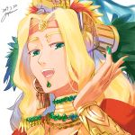 1girl aztec bangs blonde_hair bracer chin_piercing earrings emerald_(gemstone) fate/grand_order fate_(series) gem gold gold_necklace goya_(xalbino) green_eyes hair_ornament headband headdress jewelry long_hair looking_at_viewer nail_polish open_mouth quetzalcoatl_(fate/grand_order) shiny shiny_hair smile solo upper_body white_background