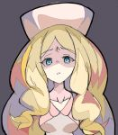 1girl blonde_hair blue_eyes breasts cattleya_(pokemon) collarbone disgust elite_four enpe eyebrows_visible_through_hair grey_eyes hat looking_at_viewer medium_breasts pink_headwear pokemon pokemon_(game) pokemon_bw shaded_face solo upper_body