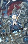 1girl axe belt black_legwear blue_eyes blue_fire blue_headwear boots brown_footwear check_copyright commentary_request commission copyright_request fire gun hat hat_feather highres holding holding_gun holding_sword holding_weapon jacket long_hair long_jacket monster_boy open_clothes open_jacket original pirate_hat pointy_ears robot rtari shark_boy smile stairs sword thigh-highs weapon white_hair wide_shot
