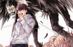 2boys apple bags_under_eyes black_hair bone brown_eyes brown_hair death_note eating food fruit highres holding holding_food holding_fruit hood hoodie jacket long_sleeves male_focus multiple_boys open_mouth ryuk sanpaku sharp_teeth shinigami shirt short_hair smile tanaka_minoru teeth white_background white_hoodie white_jacket wings zyuno0