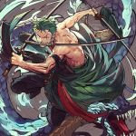 1boy abs chest collarbone dragon dynamic_pose earrings fighting_stance full_body green_hair japanese_clothes jewelry katana kimono light looking_at_viewer male_focus muscle one_piece open_clothes open_kimono roronoa_zoro runa_(artist) scar shirtless solo sword tail teeth toned toned_male tongue weapon
