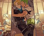 2boys armband black_eyes black_suit blonde_hair chest closet couple earrings formal green_hair hand_on_another's_chest japanese_clothes jewelry legs_together long_sleeves male_focus multiple_boys muscle one_piece pants roronoa_zoro runa_(artist) sanji short_sleeves suit sweatdrop toned toned_male trapped veins yaoi
