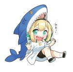 1girl :d amano_pikamee aqua_camisole aqua_hair aqua_nails bangs black_hairband black_shorts blonde_hair bright_pupils camisole chibi claw_pose eyes_visible_through_hair hairband maneater_(game) multicolored_hair open_mouth oversized_clothes oversized_shirt shark sharp_teeth shirt shoes short_hair shorts simple_background smile sneakers socks solo stuffed_animal stuffed_shark stuffed_toy teeth tenneko_yuuri two-tone_hair v-shaped_eyebrows virtual_youtuber voms white_background white_legwear white_pupils white_shirt wide_sleeves