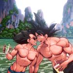 2boys abs bara black_eyes black_hair chest couple cup dragon_ball dragon_ball_z drinking_glass drinking_straw highres holding_hands looking_at_another male_focus manly multiple_boys muscle nipples noses_touching open_mouth pectorals saiyan smile son_gokuu spiky_hair sunglasses supobi swimsuit toned toned_male upper_body vegeta water yaoi