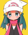 arms_at_sides beanie black_shirt blue_eyes blue_hair blush closed_mouth ears hair_ornament hat highres hikari_(pokemon) hyou_(hyouga617) layered_clothes long_hair looking_at_viewer neck pokemon red_scarf scarf shirt shoulders sleeveless sleeveless_shirt tareme upper_body white_headwear yellow_background