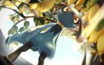 artist_name blurry branch closed_mouth commentary_request day depth_of_field food from_below fruit gen_4_pokemon highres leaf lemon light_frown no_humans pokemon pokemon_(creature) prune red_eyes riolu sky standing toes watermark