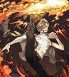 1boy bandages belt black_eyes black_pants blonde_hair chest cigarette dynamic_pose fighting_stance fire full_body hair_over_one_eye large_hands leg_up looking_at_viewer male_focus muscle navel one_piece open_clothes pants runa_(artist) sanji shiny shiny_hair smile smoke smoking solo toned toned_male