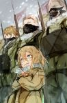 1girl absurdres blonde_hair blue_eyes coat evil_grin evil_smile grin hair_between_eyes highres hiranko looking_at_viewer mask military military_uniform mouth_mask multiple_boys ponytail short_hair smile snow snowing tanya_degurechaff uniform winter winter_clothes winter_coat youjo_senki