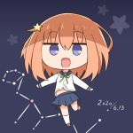 1girl :d absurdres bangs blue_sailor_collar blue_skirt bow brown_footwear brown_hair chibi commentary_request constellation dated eyebrows_visible_through_hair full_body green_bow grey_background hair_between_eyes hair_ornament hana_kazari highres kneehighs koisuru_asteroid konohata_mira loafers long_sleeves navel open_mouth pleated_skirt sailor_collar shirt shoes skirt smile solo standing standing_on_one_leg star_(symbol) star_hair_ornament violet_eyes white_legwear white_shirt