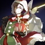 1boy bangs brown_eyes brown_hair christmas eyebrows_visible_through_hair facial_hair fate/grand_order fate_(series) fingerless_gloves fur_trim gauntlets gift gloves goatee goya_(xalbino) hair_ribbon hat hector_(fate/grand_order) looking_at_viewer male_focus polearm ponytail ribbon santa_costume santa_hat shiny shiny_hair signature smile solo star_(symbol) upper_body weapon