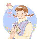1girl blush book braid brown_eyes brown_hair cow doubutsu_no_mori fat flower furry hijinna horns isako_(doubutsu_no_mori) long_hair personification solo twin_braids white_background