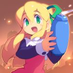 1girl :d arm_cannon blonde_hair blush_stickers empty_eyes green_eyes green_ribbon hair_ribbon long_hair long_sleeves looking_at_viewer metata open_mouth ribbon rockman rockman_(classic) roll smile solo weapon