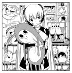 1girl eden's_zero eyebrows_visible_through_hair hair_between_eyes head_tilt hermit_(eden's_zero) holding_stuffed_toy long_hair mashima_hiro monochrome official_art solo stuffed_animal stuffed_toy suitcase tagme teddy_bear twintails unicorn very_long_hair