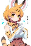 1girl animal_ears bare_shoulders belt blonde_hair bow bowtie commentary_request cowboy_shot cross-laced_skirt elbow_gloves extra_ears eyebrows_visible_through_hair fingers_together flying_sweatdrops gloves high-waist_skirt highres kemono_friends looking_at_viewer print_gloves print_neckwear print_skirt serval_(kemono_friends) serval_ears serval_girl serval_print serval_tail shirt short_hair skirt sleeveless solo tail takosuke0624 translation_request white_shirt yellow_eyes