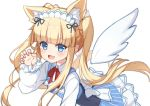 1girl :d animal_ear_fluff animal_ears back_bow bangs blonde_hair blue_dress blunt_bangs blush bow braid claw_pose collared_shirt copyright_request detached_wings dress eyebrows_visible_through_hair fang hand_up long_hair long_sleeves looking_at_viewer maid_headdress open_mouth puffy_long_sleeves puffy_sleeves shirt sidelocks simple_background smile solo striped twintails vertical-striped_dress vertical_stripes very_long_hair virtual_youtuber white_background white_bow white_shirt white_wings wings yuxian_youka