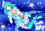 1girl aqua_hair blue_legwear bracelet character_name choker collarbone cure_milky earrings floating_hair full_body green_eyes grin hair_ornament hairband heart heart_hands highres jewelry long_hair looking_at_viewer nodo_kawakune pointy_ears precure see-through_silhouette shiny shiny_hair short_sleeves single_leg_pantyhose smile solo star_(symbol) star_earrings star_hair_ornament star_twinkle_precure yellow_hairband