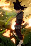 1boy arms_behind_back black_eyes black_hair boots dragon_ball dragon_ball_super earrings embers expressionless fire full_body gokuu_black highres jewelry light long_sleeves male_focus outdoors pavement potara_earrings road shadow single_earring solo spiky_hair standing street supobi