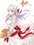 1girl animal bird bouquet bride cute dress fire_emblem fire_emblem:_akatsuki_no_megami fire_emblem:_radiant_dawn fire_emblem_10 fire_emblem_heroes flower from_side grey_hair haru_(nakajou-28) highres holding holding_bouquet human intelligent_systems long_hair looking_to_the_side micaiah_(fire_emblem) nintendo open_mouth petals simple_background solo super_smash_bros. wedding_dress white_background white_dress yellow_eyes