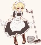 1girl alternate_costume apron bangs black_dress blonde_hair blush boots braid broom brown_background brown_footwear bucket cross-laced_footwear dated dress enmaided eyebrows_visible_through_hair frilled_apron frilled_dress frills full_body girls_frontline hair_between_eyes highres lace-up_boots looking_at_viewer maid maid_apron maid_headdress matsuo_(matuonoie) nagant_revolver_(girls_frontline) parted_lips ponytail puffy_short_sleeves puffy_sleeves red_eyes short_sleeves simple_background solo standing white_apron