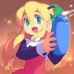 1girl :d arm_cannon blonde_hair blush_stickers green_eyes green_ribbon hair_ribbon long_hair long_sleeves looking_at_viewer metata open_mouth ribbon rockman rockman_(classic) roll smile solo weapon