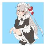 1girl alternate_costume amatsukaze_(kantai_collection) apron black_dress black_footwear blue_background border brown_eyes dress enmaided frilled_apron frills full_body hair_tubes hand_on_own_face highres kantai_collection long_hair looking_at_viewer maid maid_headdress mary_janes mochizou shoes silver_hair socks solo two-tone_background two_side_up white_apron white_border white_legwear windsock