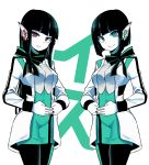 2girls absurdres aqua_eyes as_(kamen_rider_01) black_hair black_nails bow bowtie bright_pupils character_name highres humagear_headphones is_(kamen_rider_01) kamen_rider kamen_rider_01_(series) leggings long_hair matching_outfit multiple_girls pencil_skirt red_eyes short_hair skirt togin white_pupils