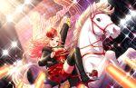 blush brown_hair dress hamakawa_ayuna horse idolmaster_cinderella_girls_starlight_stage long_hair pink_hair smile