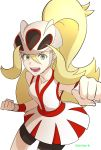 1girl bangs bare_shoulders bicycle_helmet bike_shorts blonde_hair clenched_hands commentary_request dress eyelashes green_eyes gym_leader hair_between_eyes helmet highres hizukiki koruni_(pokemon) long_hair looking_at_viewer open_mouth pokemon pokemon_(game) pokemon_xy ponytail red_dress simple_background solo teeth tongue two-tone_dress very_long_hair white_background white_dress wristband
