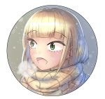 1girl :d blonde_hair blush breath child commentary_request eyebrows_visible_through_hair green_eyes happy katou_asuka kitaura_sou long_hair open_mouth portrait round_image scarf smile snowing solo sparkle watashi_ga_motenai_no_wa_dou_kangaetemo_omaera_ga_warui! younger