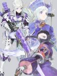 1boy 2others :t armor binoculars character_request chewing covered_mouth drawr eating food full_armor gloves hair_ornament hair_slicked_back hat holding holding_food long_hair looking_at_viewer meat monster_hunter multiple_others nishihara_isao purple_gloves purple_hair short_hair silver_hair violet_eyes weapon white_hair
