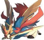 blue_fur brown_eyes chorefuji claws gen_8_pokemon legendary_pokemon looking_to_the_side mouth_hold no_humans pokemon pokemon_(creature) simple_background solo sword weapon white_background wolf zacian zacian_(crowned)