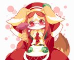 1girl animal_ears bare_shoulders bespectacled blush breasts brown_fur brown_hair chantico_(fullbokko_heroes) commentary_request detached_sleeves dog dog_ears dog_girl dog_tail doyagao food fullbokko_heroes furrowed_eyebrows furry glasses headwear holding holding_stick long_hair looking_at_viewer medium_breasts neru_(neruneruru) pawpads red-framed_eyewear red_eyes red_sleeves semi-rimless_eyewear simple_background smile solo stick sweet_potato tail two-tone_fur under-rim_eyewear upper_body white_background white_fur