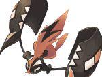 alternate_color black_skin blue_eyes chorefuji gen_7_pokemon legendary_pokemon no_humans plume pokemon pokemon_(creature) shiny_pokemon simple_background tapu_koko white_background