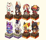 2boys 6+girls animal_ears animal_nose barefoot beige_background beige_fur black_fur black_hair black_legwear bright_pupils character_request commentary_request fox fox_ears fox_girl fox_tail fullbokko_heroes furry goat_eyes highres horns kishibe long_hair multiple_boys multiple_girls nue_(fullbokko_heroes) ooguchi_no_magami_(fullbokko_heroes) orange_eyes orange_fur purple_fur red_eyes sheep_horns short_hair simple_background snout standing tail thigh-highs two-tone_fur violet_eyes white_fur white_hair white_pupils yellow_eyes yellow_fur
