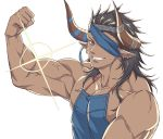 1boy apron bara black_hair brown_eyes chest dark_skin dark_skinned_male draph earrings eyepatch flexing granblue_fantasy headband horns jewelry long_hair looking_at_viewer male_focus manly muscle nearly_naked_apron no_nipples pectorals pointy_ears pose reinhardtzar revealing_clothes shiny shiny_hair smile solo sparkle sweatdrop upper_body veins white_background zanki