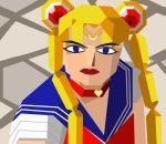 1girl 2blu bishoujo_senshi_sailor_moon blonde_hair blue_eyes choker circlet derivative_work diadem double_bun eyeliner heart heart_choker highres lipstick long_hair makeup parody polygonal red_choker sailor_collar sailor_moon sailor_moon_redraw_challenge screencap_redraw signature solo thick_eyebrows tsukino_usagi twintails upper_body virtua_fighter