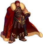 1boy armor bara beard belt breastplate cape chest cleavage_cutout dark_skin dark_skinned_male facial_hair fate/extella fate/extra fate/grand_order fate_(series) full_body fur-trimmed_cape fur_trim greek_clothes hand_on_hip highres iskandar_(fate) leather looking_at_viewer male_focus manly muscle official_art pectorals red_cape red_eyes redhead sandals smile wada_aruko white_background