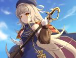 1girl azur_lane bangs bare_shoulders beret blue_dress blue_headwear blue_sky blunt_bangs blush breasts brown_eyes chagara closed_mouth clouds commentary_request day detached_sleeves dress eyebrows_visible_through_hair frown gloves hair_ornament hat highres holding holding_sword holding_weapon iron_cross long_hair long_sleeves looking_at_viewer mole mole_under_eye outdoors silver_hair sky sleeveless sleeveless_dress small_breasts solo sword very_long_hair weapon white_gloves yellow_eyes z46_(azur_lane)