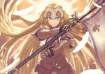 1girl armor backlighting banner blonde_hair blue_eyes breast_curtains breasts commentary_request cowboy_shot fate/apocrypha fate/grand_order fate_(series) feathers full_armor gauntlets headpiece highres holding janoukyo19 jeanne_d'arc_(fate) jeanne_d'arc_(fate)_(all) long_hair looking_at_viewer medium_breasts ribbon serious solo straight_hair sunlight v-shaped_eyebrows very_long_hair yellow_ribbon
