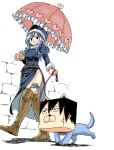 1boy 1girl belt blue_hair boots breasts collar dog eyebrows_visible_through_hair fairy_tail full_body gray_fullbuster hair_between_eyes hat heart juvia_lockser knee_boots leash mashima_hiro medium_hair official_art shadow simple_background smile thigh_tattoo umbrella walking wall white_background