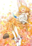 1girl :d animal_ear_fluff animal_ears bangs blonde_hair bow closed_eyes commentary elbow_gloves extra_ears eyebrows_visible_through_hair flower from_above gloves hat_feather helmet high-waist_skirt holding inukoro_(spa) kemono_friends lying on_back open_mouth orange_flower orange_gloves orange_legwear orange_neckwear orange_skirt pink_flower pith_helmet print_bow print_gloves print_neckwear print_skirt serval_(kemono_friends) serval_ears serval_print serval_tail shoes short_hair skirt smile solo striped_tail tail white_footwear
