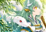 1girl animal bangs blush breasts commentary_request dragon_horns eyebrows_visible_through_hair fan fate/grand_order fate_(series) from_side green_hair green_kimono holding holding_fan horns japanese_clothes kimono kiyohime_(fate/grand_order) long_hair morizono_shiki open_mouth parted_lips red_eyes smile snake upper_body white_kimono white_snake yellow_eyes