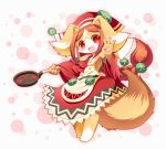 1girl :3 :d animal_ears bare_shoulders blush breasts brown_fur brown_hair chantico_(fullbokko_heroes) commentary_request detached_sleeves digitigrade dog dog_ears dog_girl dog_tail eyebrows_visible_through_hair full_body fullbokko_heroes furry headwear holding_frying_pan long_hair looking_at_viewer medium_breasts neru_(neruneruru) open_mouth pawpads red_eyes simple_background smile solo standing tail two-tone_fur white_background white_fur